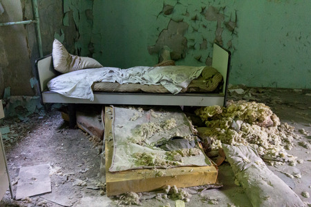 beds: Abandoned bad in an old mental asylum