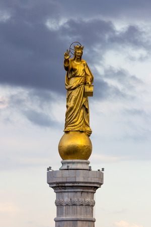 Holy Mary statue in Messina's Harbour Stock Photo
