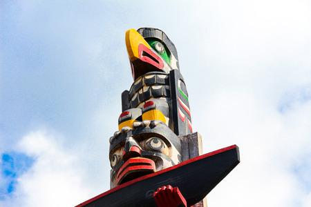 Totem in Victoria city Canada - tradition concept