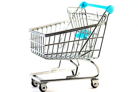 Empty little cart - shopping concept