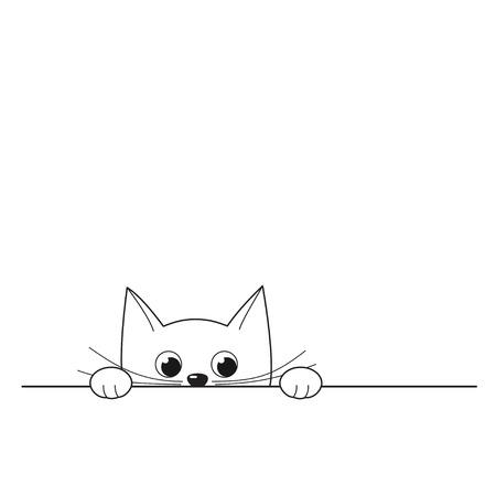 Vector illustration of outline cute peeking kitten isolated on white background