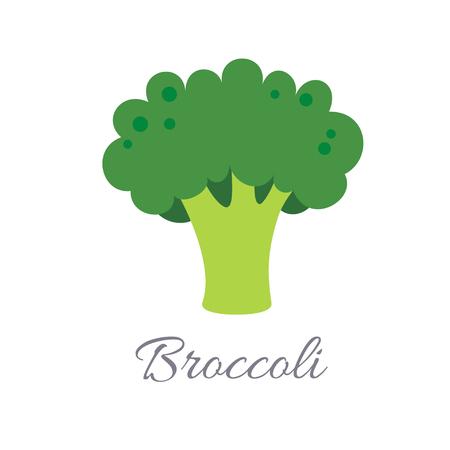 Illustration vectorielle de l'icône de brocoli dans un style plat avec titre, isolé sur fond blanc