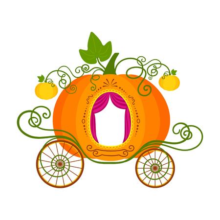 Illustration vectorielle de chariot de citrouille de dessin animé isolé sur fond blanc Vecteurs
