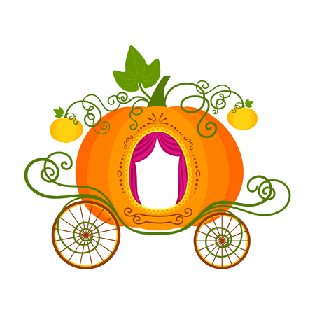 Vector illustration of cartoon pumpkin carriage isolated on white background Ilustracja