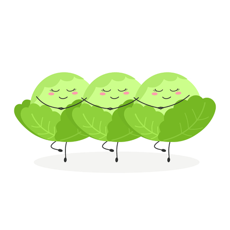 Three funny cartoon cabbages performing Swan Lake Ballet. Vector illustration isolated on white background Illustration