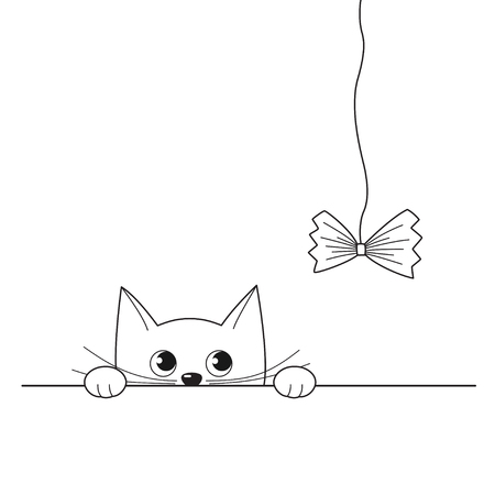Vector illustration of outline cute peeking kitten playing with a paper bow on string, isolated on white background