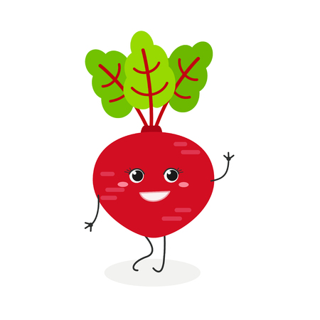 Vector flat illustration of pretty cartoon beetroot waving hand isolated on white background