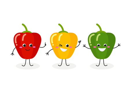 Vector flat illustration of three cartoon bell peppers isolated on white background