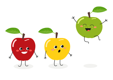 Three cute funny cartoon apples expressing emotions. Vector flat illustration isolated on white background