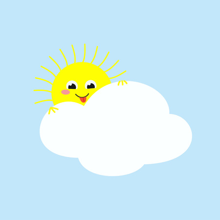 Cheerful sun looking out from behind a cloud and teasing showing its tongue. Vector illustration Illustration