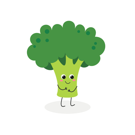 Vector flat illustration of cute cartoon broccoli isolated on white background Illustration