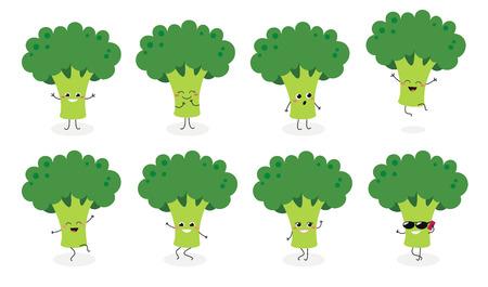 Conjunto de emojis de brócoli feliz lindo. Ilustración plana de vectores aislado sobre fondo blanco