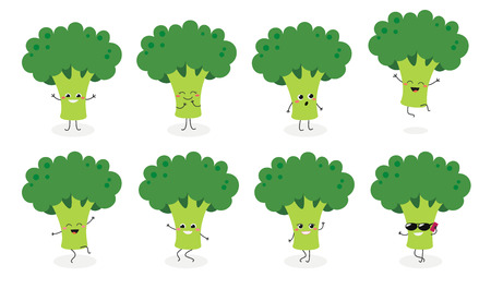 Set of cute happy broccoli emojis. Vector flat illustration isolated on white background