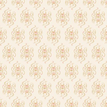 Seamless pattern on light beige background. Vector illustration Stock Illustratie