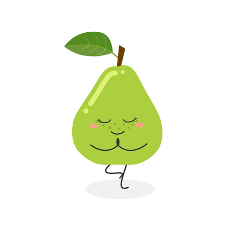 Cute funny cartoon pear doing yoga standing in tree pose. Vector flat illustration isolated on white