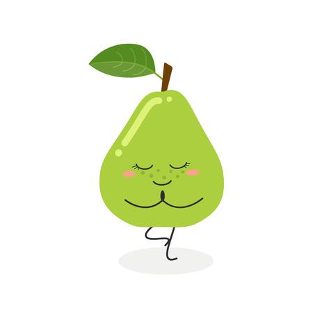 Nette lustige Karikaturbirne, die Yoga tut, das in Baumhaltung steht. Flache Illustration des Vektors lokalisiert auf Weiß