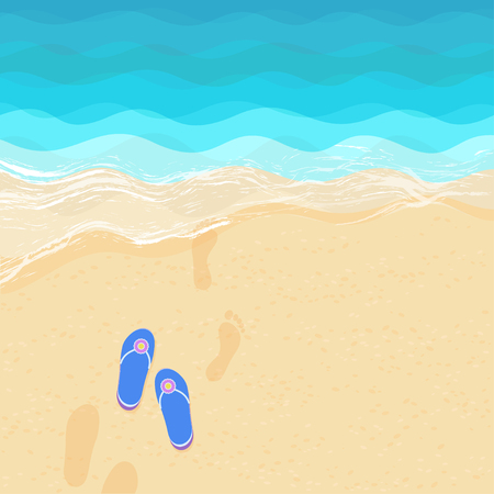 Vector illustration of the sea shore with flip flops and footprints on the sand