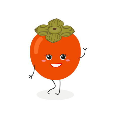 Vector flat illustration of pretty cartoon persimmon waving hand isolated on white background Ilustrace
