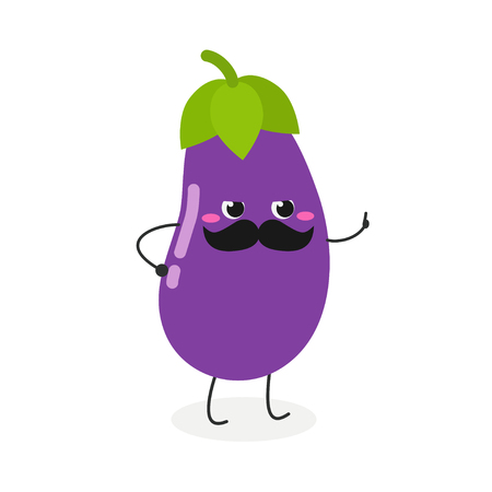 Funny strict cartoon eggplant threatens with a finger. Vector flat illustration isolated on white background