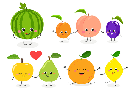 Set of different cute happy fruit characters. Vector flat illustration isolated on white background Illustration