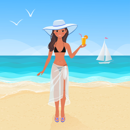 Young pretty tanned girl in bikini on a sandy beach drinking orange juice. Vector illustration of summer resort vacation
