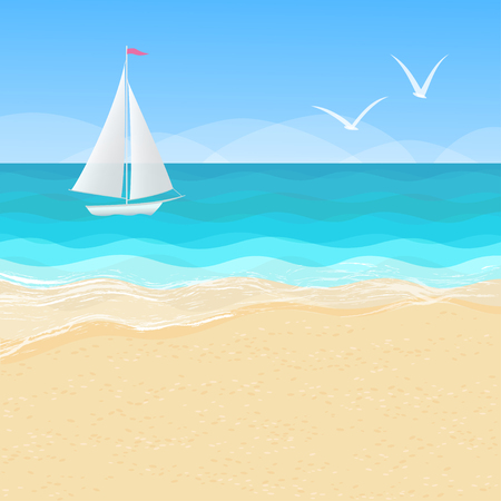 Vector cartoon panorama of beautiful seascape with a boat and seagulls