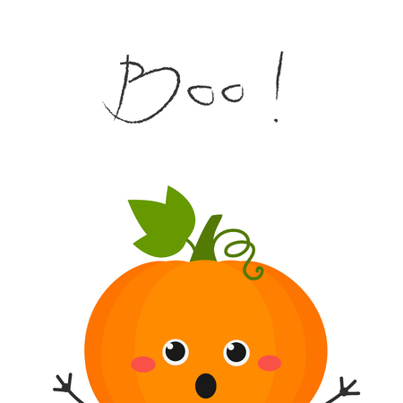 "Funny cute cartoon pumpkin peeking out and scaring ""Boo"". Vector flat illustration isolated on white background"