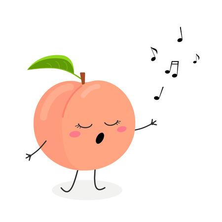 Ilustración plana de vector de melocotón de dibujos animados adorable cantando una canción, aislado sobre fondo blanco