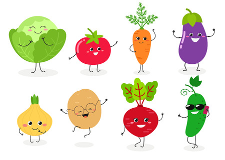 Set of different cute happy vegetable characters. Vector flat illustration isolated on white background