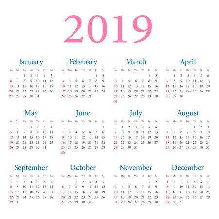 Calendar 2019 year. Week starts on Sunday. Vector simple design template on white background Ilustração