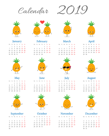 Calendar 2019 with cute funny pineapple characters on white background. Week starts on Monday