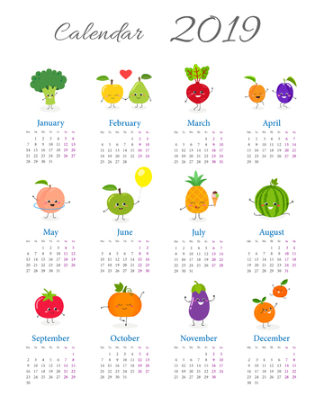 Calendar 2019 with cute funny vegetables and fruits on white background. Week starts on Monday