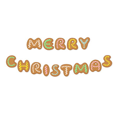 Merry Christmas phrase with cartoon gingerbread cookies in form of letters. Vector illustration