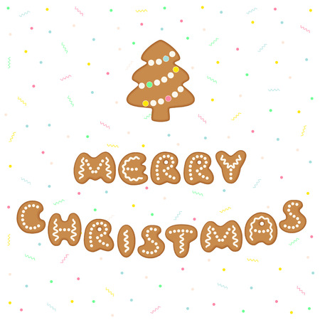 Merry Christmas greeting card with gingerbread cookies in form of letters forming the words. Vector illustration