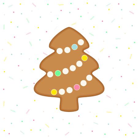 Vector flat illustration of gingerbread Christmas tree on celebration background
