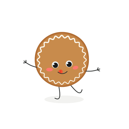Cheerful cartoon gingerbread cookie character. Vector flat illustration isolated on white background Ilustração