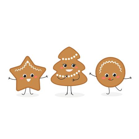 Set of cheerful cartoon gingerbread Christmas cookies. Vector flat illustration isolated on white background Ilustração