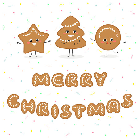 Merry Christmas greeting card with cute cartoon gingerbread cookies. Vector illustration