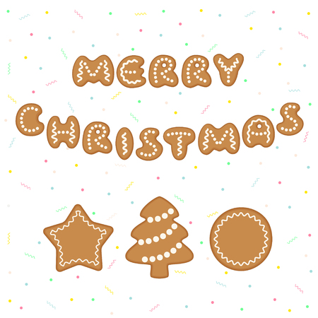 Merry Christmas greeting card with gingerbread cookies decorated with icing. Vector illustration