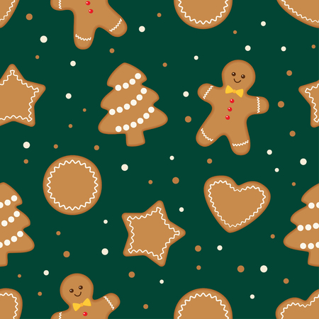 Seamless pattern with different gingerbread christmas cookies on green background. Vector illustration Ilustração