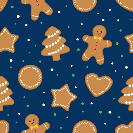 Seamless holiday pattern with gingerbread cookies on dark blue background. Vector flat illustration