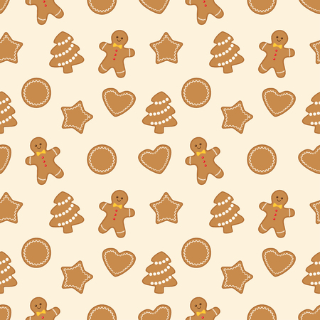 Christmas seamless pattern with different gingerbread cookies on light beige background. Vector illustration