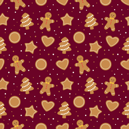 Christmas seamless pattern with different gingerbread cookies on dark red background. Vector illustration