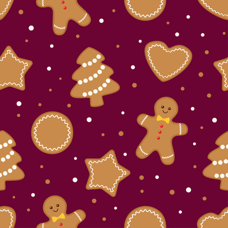 Seamless christmas pattern with different gingerbread cookies on maroon background. Vector illustration
