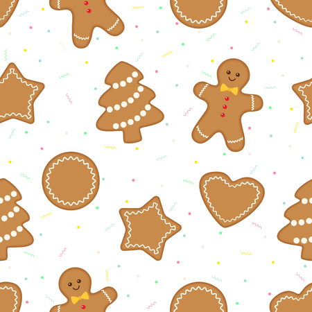 Christmas seamless pattern with gingerbread cookies on celebration background. Vector illustration