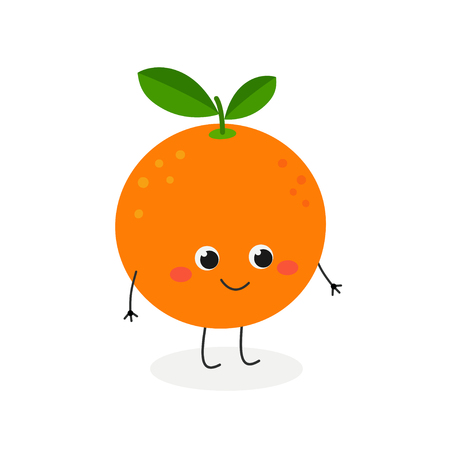 Vector flat illustration of adorable cartoon orange character isolated on white background