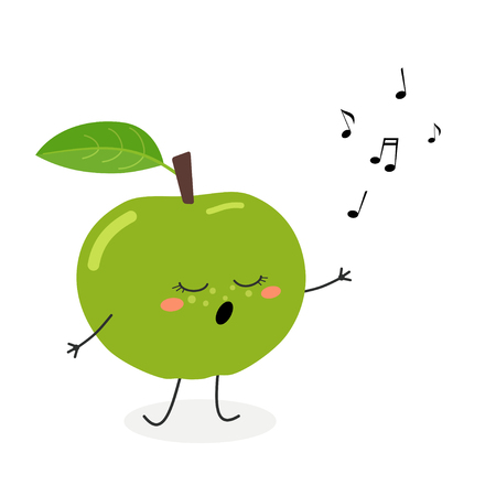 Vector flat illustration of cute cartoon green apple singing a song, isolated on white background