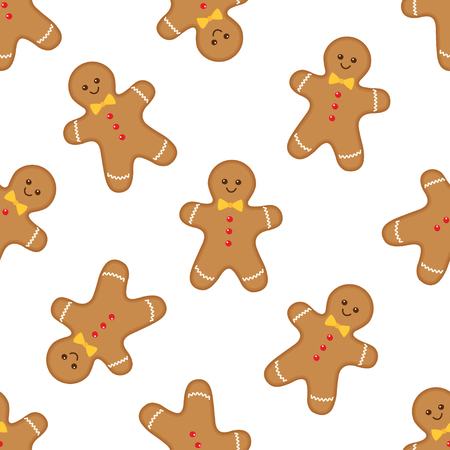 Seamless pattern with gingerbread man on white background. Vector illustration Ilustração