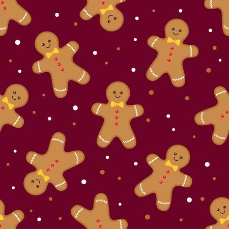 Christmas seamless pattern with gingerbread man on burgundy background. Vector illustration Ilustração
