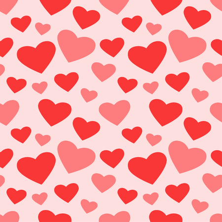 Vector illustration of cute romantic seamless hearts pattern on pink background